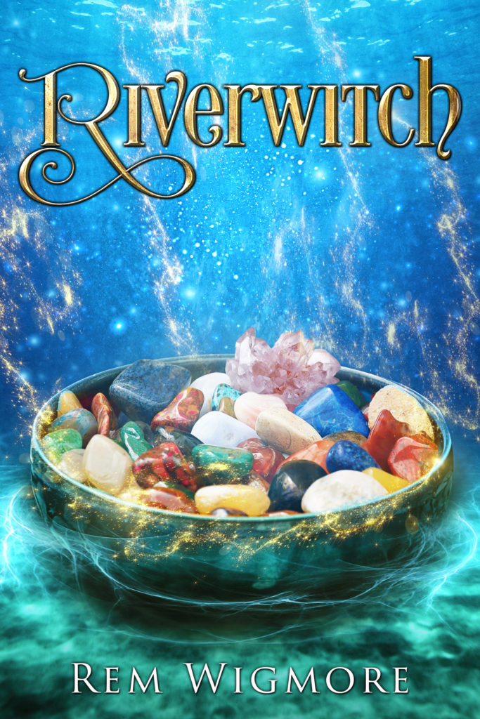 cover of Riverwitch has bowl of crystals under water.